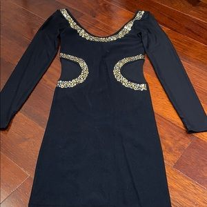 BEBE LONG SHEER SLEEVE MINI DRESS WITH GOLD STUDS!